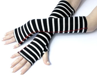 Cozy Black and White striped fingerless gloves  -mittens victorian goth yoga stripes cycling