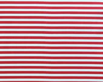 Fox Hollow Organic Cotton Stripey Red- Monaluna Fabrics: Half Yard Cut