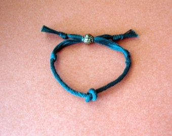 Lover's knot bracelet - green kumihimo braid - adjustable - his and hers sizes