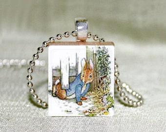 "Scrabble Jewelry - Peter Rabbit 2 - Choose Pendant or Necklace - Beatrix Potter - Peter Rabbit Charm - 18"" Chain"