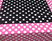 "One 30"" X 30"" Black with White Polka Dot Square Table Cloth"