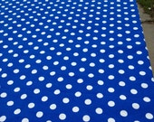 "20"" wide X 120"" long  Royal Blue with White Polka Dots Table Runner only."