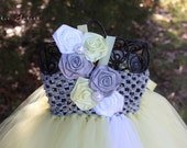 The Riley Tutu Dress- Yellow, Silver/ Gray, White, flower girl, pageant, satin flowers, wedding, easter, infant, baby, toddler