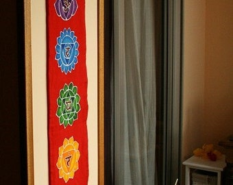 Wall hanging Chakras Batik Handpainted yoga decor