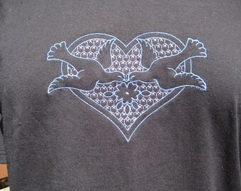 Embroidered Tshirt w/Loving Doves