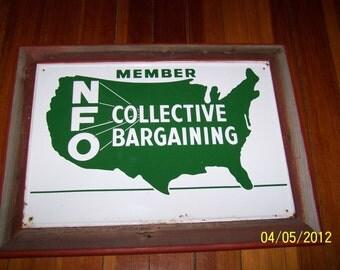 Vintage 1960's / / Tin NFO Sign / / Framed in Barnwood