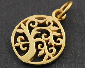 24K Gold Vermeil Over Sterling Silver Cut out Tree of Life Charm / Pendant with Jump Ring, Nature Jewelry Component, (VM/CH4/CR53)