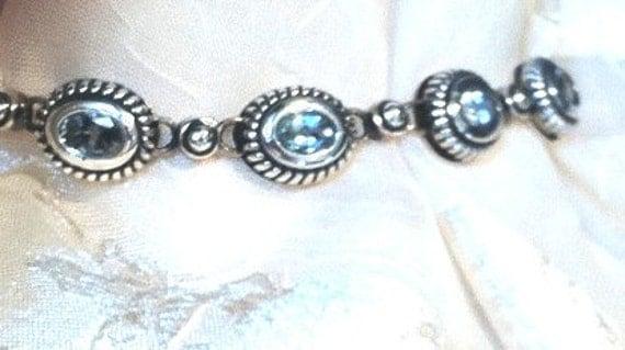 Glowing Aquamarine Bracelet in Sterling Silver Handmade Jewelry