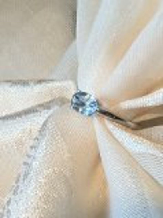 Vintage Aquamarine Ring in 10k White Gold Mystical Clear Water Blue High Quality PRICE REDUCED