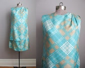 1960s Vintage Dress Turquoise Silk 60s Shift Dress Asymmetrical Plaid / Medium