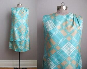 1960s Vintage Dress Turquoise Silk 60s Shift Dress Asymmetrical Plaid / Medium
