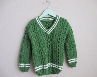 Children's Chunky Knit Sweater Green White Vintage Pullover