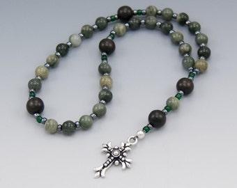 Pocket Prayer Beads - Green Jasper & Brown Ebony - Christian Anglican Rosary - Item # 777