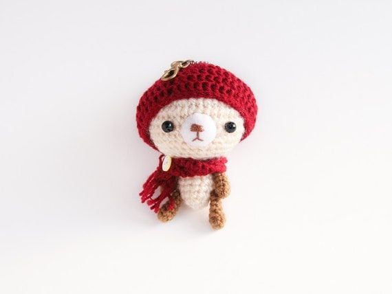 Keychain Amigurumi Winter Bear Red Hat by Meemanan on Etsy