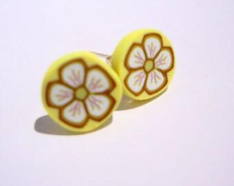 Polymer clay lemon & lime flower earring studs