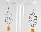 Carnelian Puzzle Piece Sterling Silver Earrings