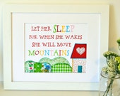 Let her sleep for when she wakes she will move mountains 11 x 14 print- newborn baby girl- nursery quote- inspirational nursery quote