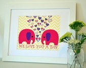 We love you a ton 11x14 nursery quote art- elephant print- chevron nursery wall art- toddler room- baby shower gift- big girll room print