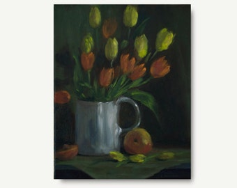 Tulip Painting, original oil painting, yellow and orange tulips, spring,  still life, flowers, green, traditional art