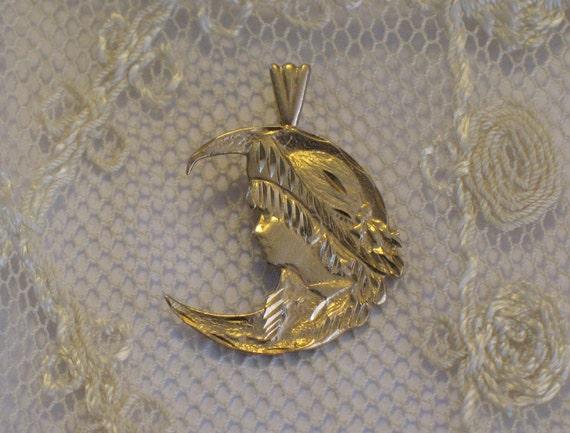 Vintage 14k Gold Moon Art Nouveau Woman S Face Pendant