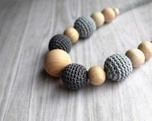 Best Selling Grey Crochet Nursing Necklace - Breastfeeding Necklace - Teething necklace with crochet beads