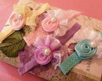 U Pick One Satin Ribbon Hand Rolled Rosette Baby Girl Headband,Newborn Headbands,Baby Headbands, Photography Headband, Baby Shower Gift