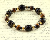 Brown Tigers Eye Black Stretch Bracelet - Beaded Agate Glass - Modern Antique Bronze - Elastic Stacking Fashion Jewelry - Free Shipping