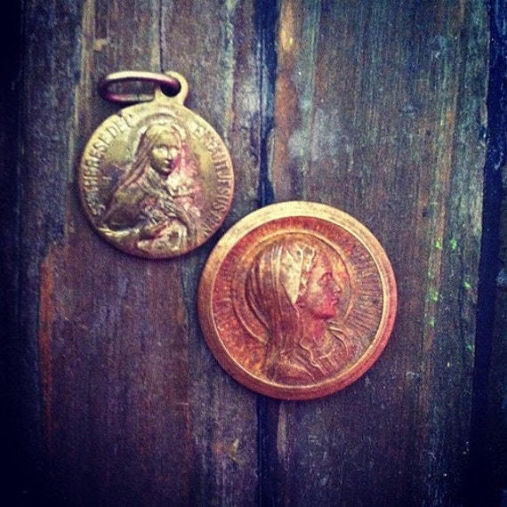 2 Vintage Virgin Mary Holy Religious French Pendants