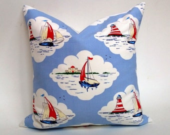 Nautical Pillow Cover Sailing In Blue, Red, White For Baby & Child 12 x 18, 16 x 16, 20 x 20 Square, Lumbar, Many Sizes