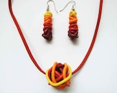 Yellow red gradient jewelry set/ ball bead from thin polymere clay tubes in gradient colours/ dangle beads earrings