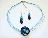 Blue gradient Fimo jewelry set/ ball bead of polymer clay tubes on cord/ dangling earrings with 4 gradient blue beads/ choose cord