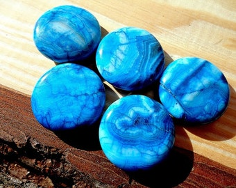 Blue Crazy Lace Agate Beads Coin Agate Beads 20 mm Blue Agate Beads Puffed Polished Coins Shape Center Drilled Jewelry Supplies (2)