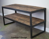 Modern Industrial TV Stand. Reclaimed wood & Steel. Vintage wood. Minimalist, urban, design. A nice TV console. AV/stereo center. Shelving
