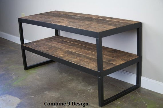 Modern Industrial Tv Stand Reclaimed Wood Amp Steel By