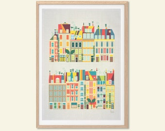 FRANCE | Baby Went to Paris Poster : Modern French Townhouses Illustration Retro Art Wall Decor Print