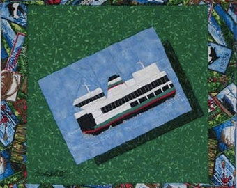 Washington State Ferry Quilt Pattern, Enchanted Valley Arts, DIY Quilting Sewing Paper Pieced
