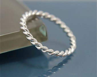 Twisted Rope Sterling Silver Band Stacking Ring Shiny Finish