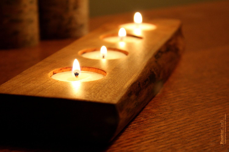 Rustic wood tea light candle holder 4 tealight holder for Rustic wood candle holders
