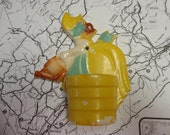 Reserved for deb...............Vintage Wall Pocket Girl in Yellow Dress