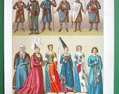 COSTUME of French Royalty in Middle Ages Kings Queens Knights - 1888 COLOR Vintage Antique Print by A. Racinet