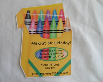 Unique Personalized Birthday, Baby Shower Crayon Shaped Invitations or Thank You Cards with Envelopes