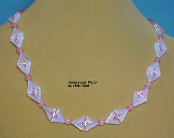 """Delicate shades of pink and blue in this pretty 18-1/2"""" necklace - N047"""