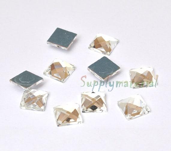 50PCS 10X10mm Clear 3D Glass Crystal flatback Jewelry Accessories materials supplies