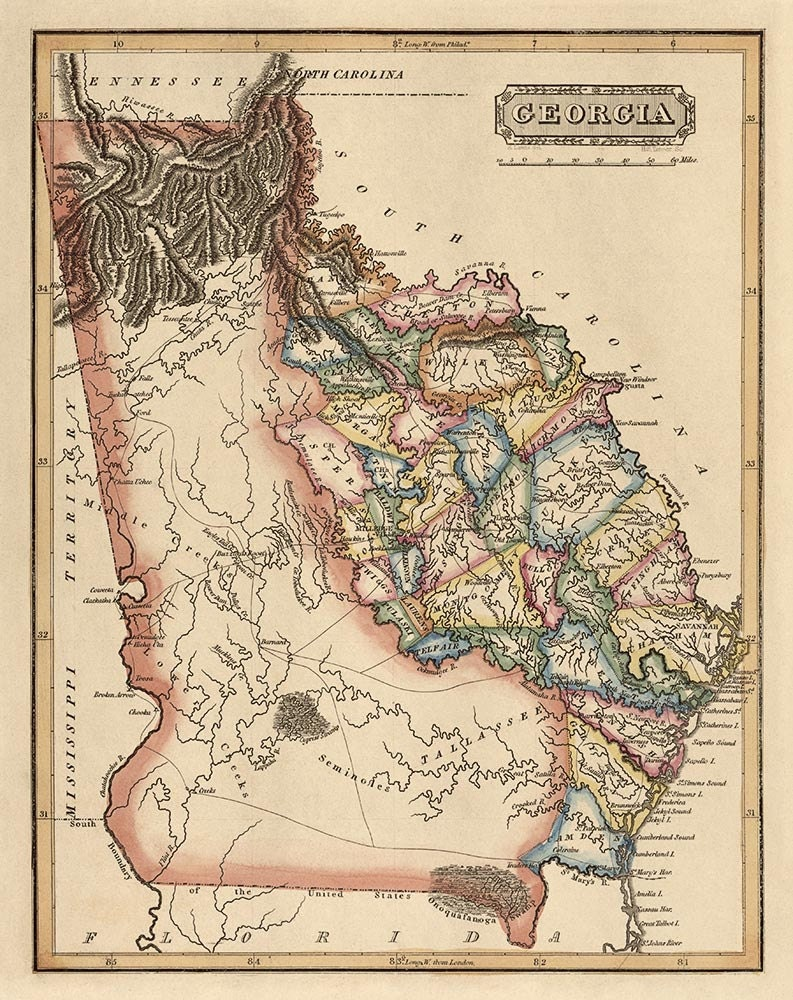 Alfa Img  Showing Gt Antique Map Of Georgia