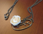 Cream Rose on Long Necklace with Antiqued Branch Charm -  30 inches.