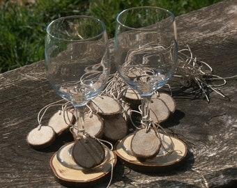 Wine Glass Tags Slices 20 Tags  DRIED-Seasoned Wood Blanks- Woodland Weddings- 1 and 1/2 inch Dia Name Tags-Wedding Decor