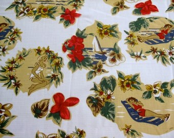 Retro Vintage-Style Hawaii Drapes and/or Shower Curtain -- Made-to-order