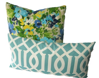 Decorative Outdoor Turquoise Chinoiserie Pillow Cover, Trellis, Aqua, 18x18, 20x20, 22x22 or lumbar, Throw Pillow