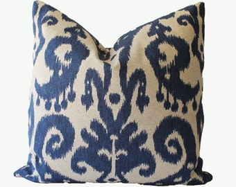Decorative Designer Old World Lacefield Ikat Pillow Cover, 18x18, 20x20, Navy Blue Throw Pillow