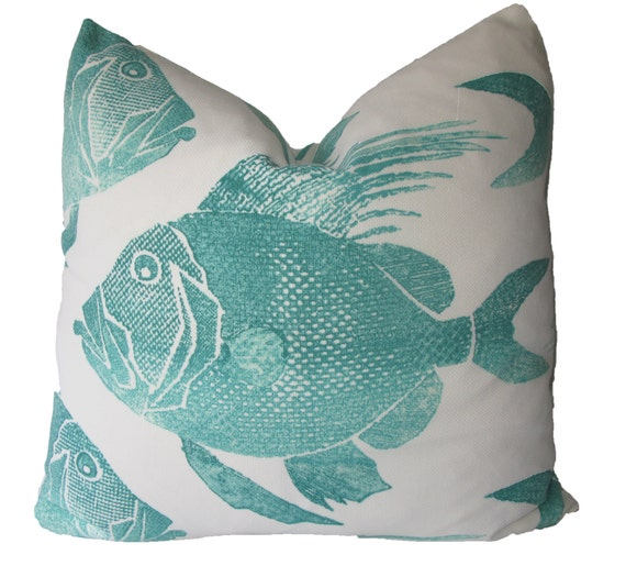 Decorative indoor outdoor fish pillow cover 18x18 20x20 for Fish throw pillows